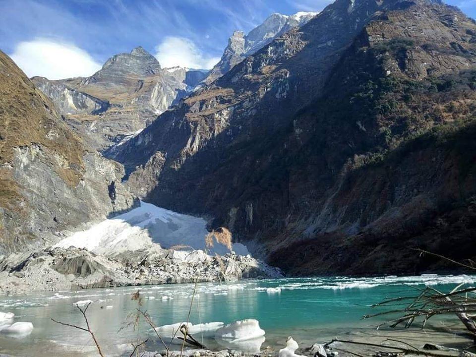 Nepal's lowest altitude glacier lake ,  Kahphuche Lake