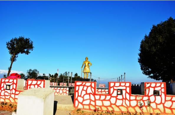 Statue of luminary Balbhadra Kunwar constructed in Devisthan in Dhulikhel