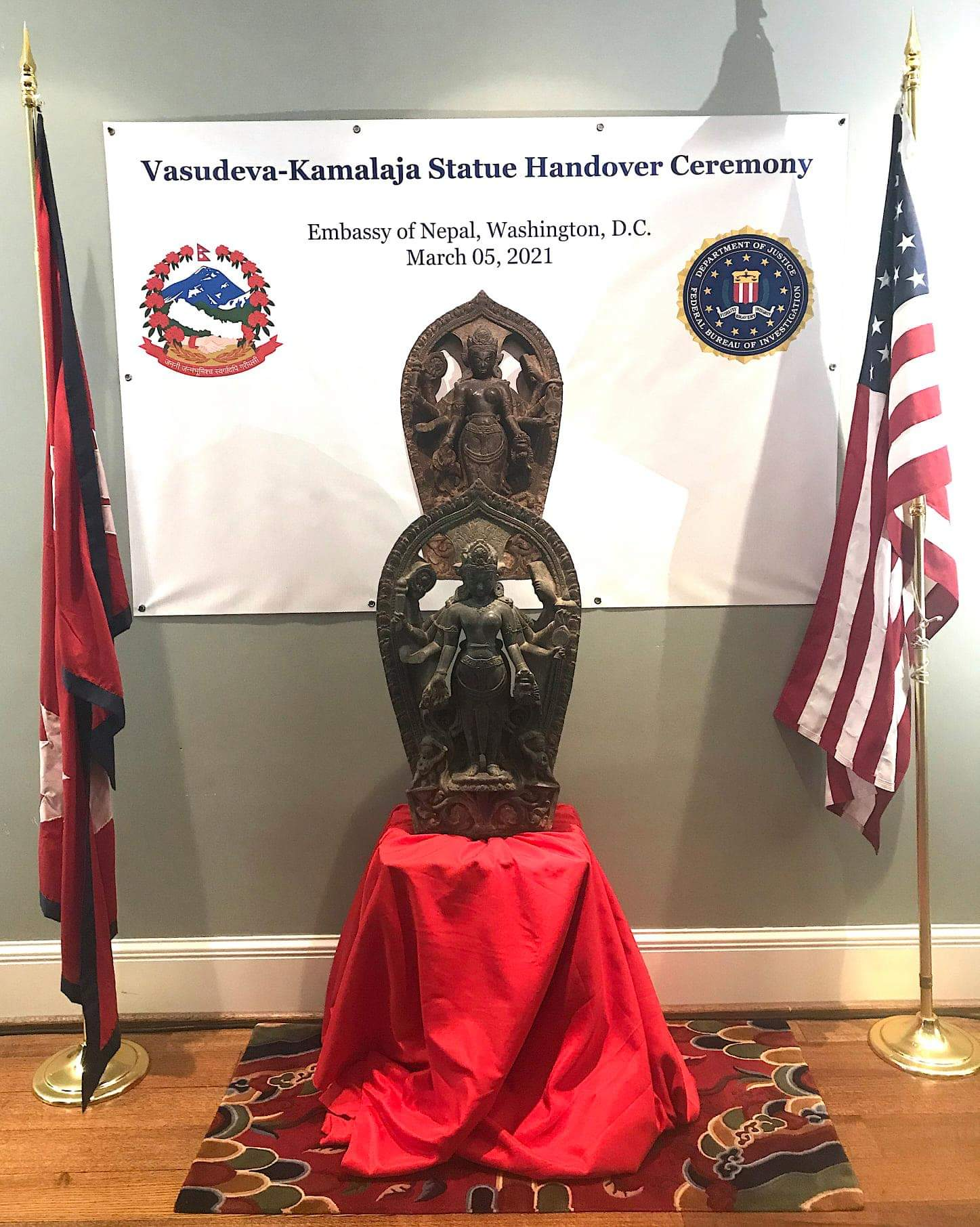 US government has handed over a statue of Vasudev-Kamalaja