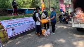 distribution to boat rowers of Phewalake by Reban Pokhara and the Art of living